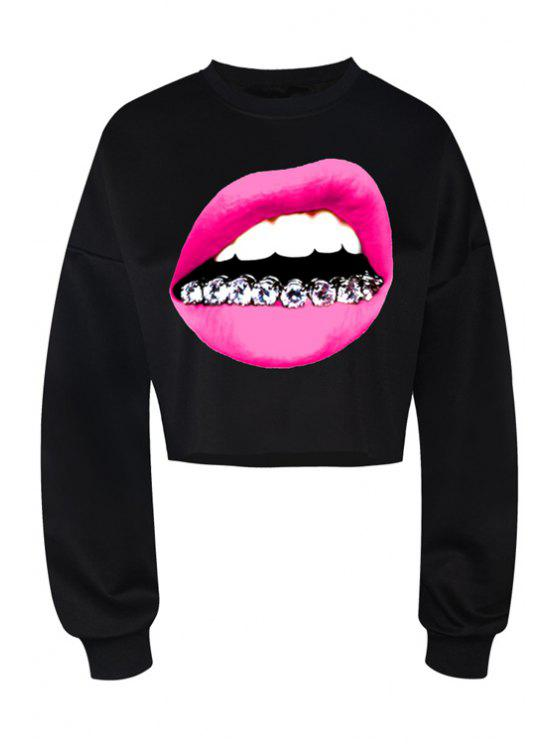 hot Lip Print Long Sleeve Black Sweatshirt - BLACK L