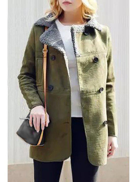 buy Suede Lapel Collar Solid Color Woolen Liner Coat - ARMY GREEN M