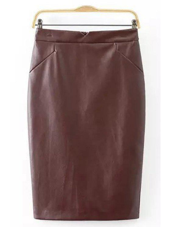 c9e0b7b185 31% OFF] 2019 Pure Color PU Leather Pencil Skirt In DEEP BROWN | ZAFUL