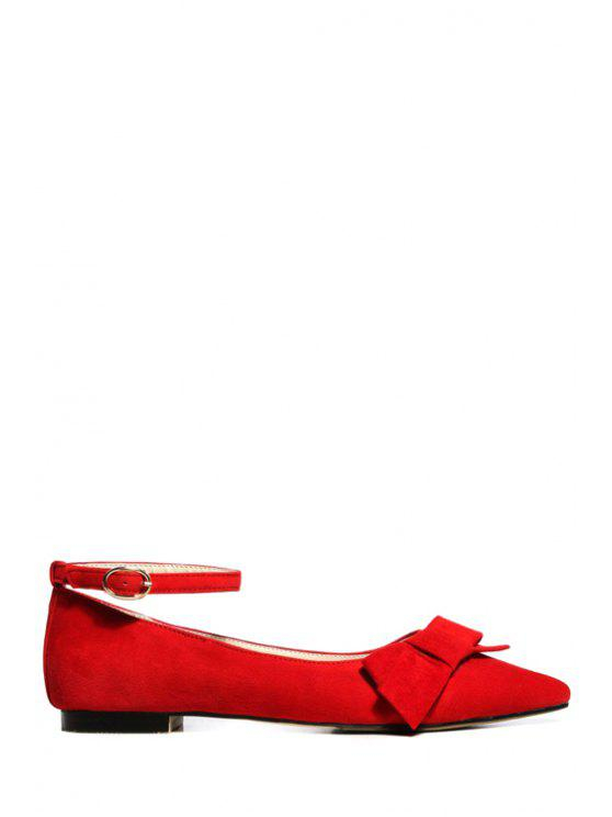 4bc06020634a7 33% OFF  2019 Pointed Toe Bow Ankle Strap Flat Shoes In RED