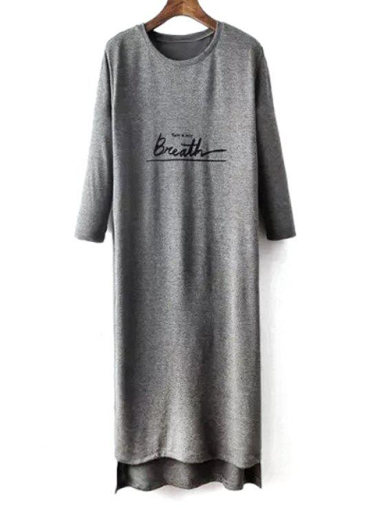 women's Letter Print 3/4 Sleeve High Slit T-Shirt Dress - GRAY S
