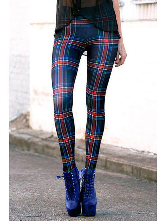 hot Checked High Waisted Slimming Leggings - COLORMIX ONE SIZE(FIT SIZE XS TO M)