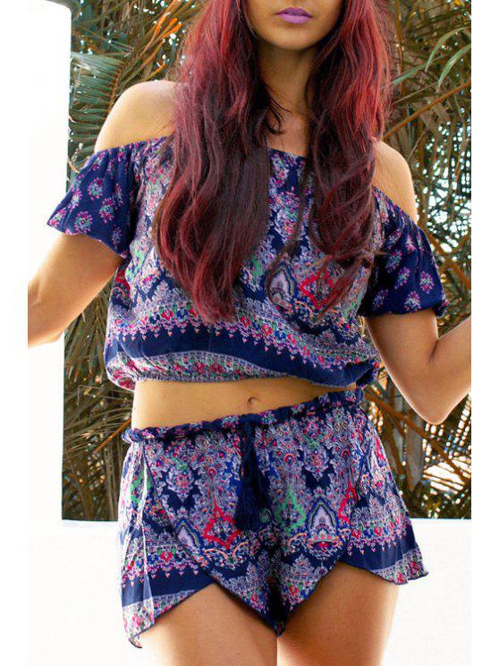 online Printed Bohemian Blouse and Shorts Twinset - PURPLE M
