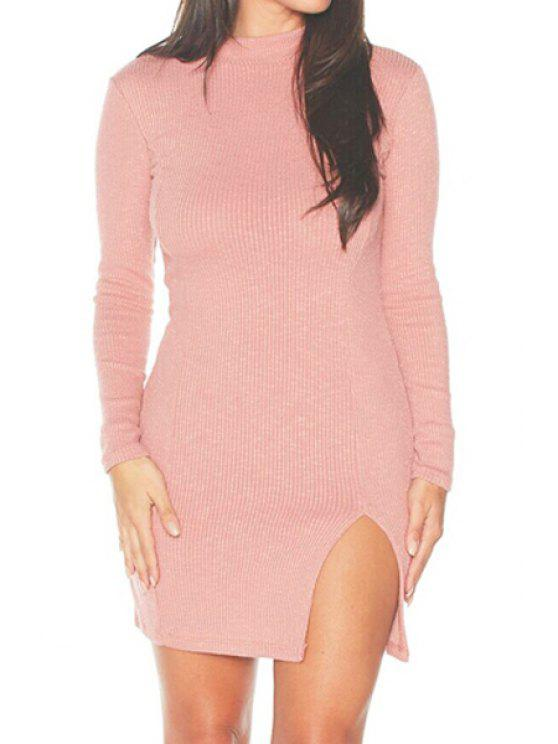 118a2389055 25% OFF] 2019 Pink Stand Neck Long Sleeve Bodycon Dress In PINK   ZAFUL