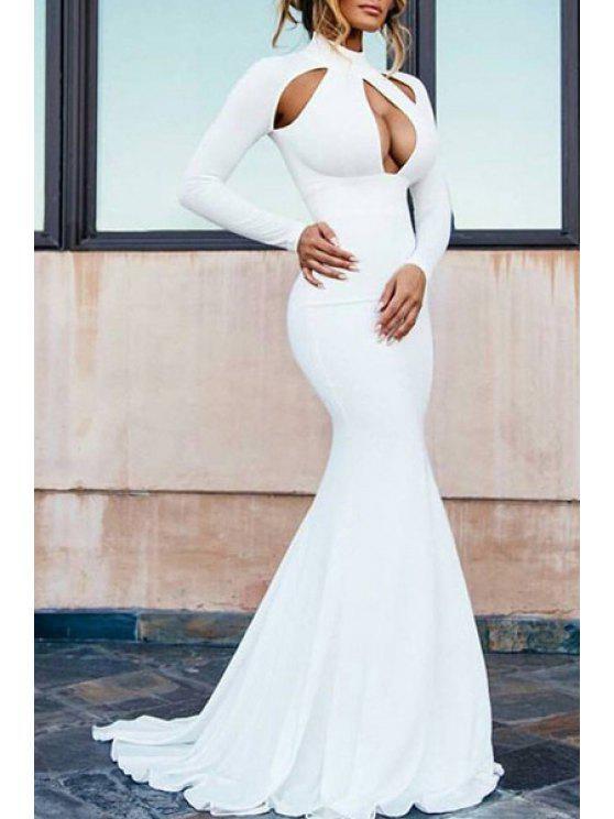 women White Long Sleeve Fishtail Maxi Dress - WHITE M