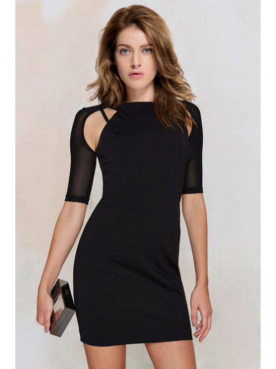 58fe3d6a2d87 33% OFF] 2019 Voile Splicing Half Sleeve Bodycon Dress In BLACK | ZAFUL