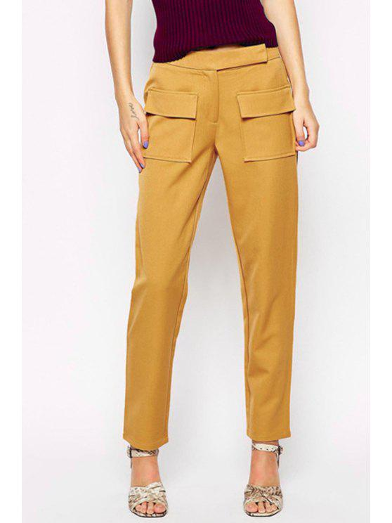 fashion Straight Solid Color Pockets OL Pants - YELLOW L