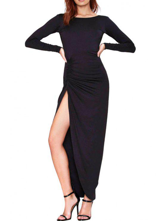 Ruched Side Slit Long Sleeve Maxi Dress