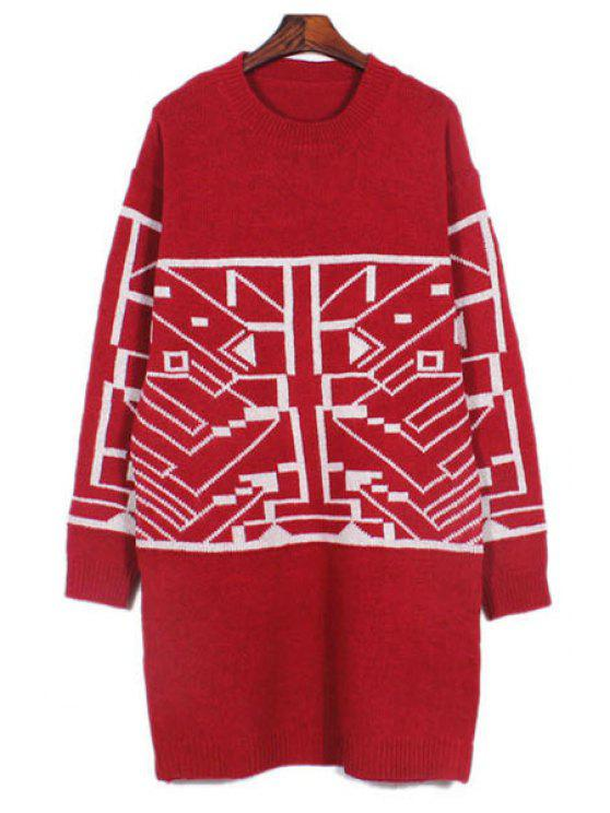 3e277fc9ff8 Geometric Pattern Round Collar Loose Fitting Sweater RED  Sweaters ...