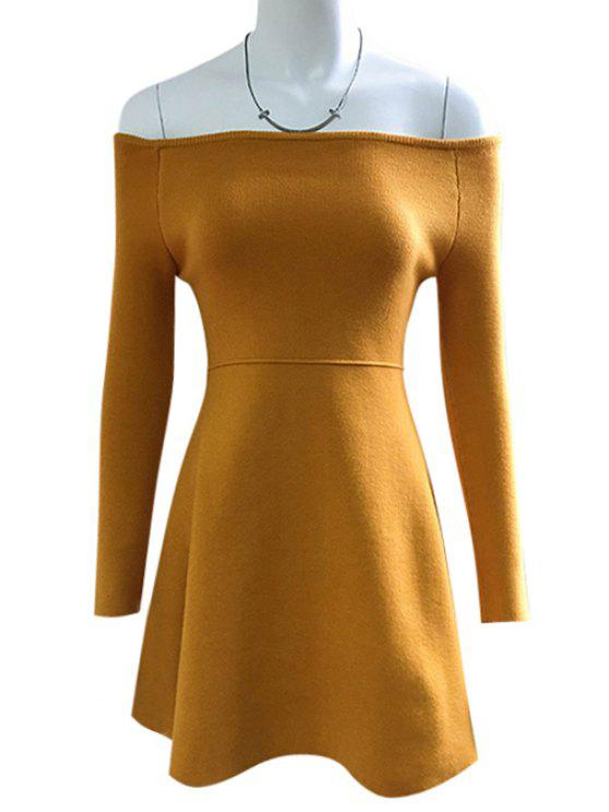 32d00c5112a5 online Solid Color Off The Shoulder Sweater Dress - YELLOW ONE SIZE(FIT  SIZE XS