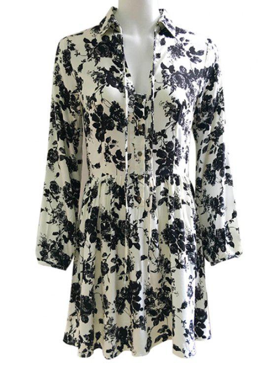 Wash Painting Shirt Collar Lace Up Dress - Preto L