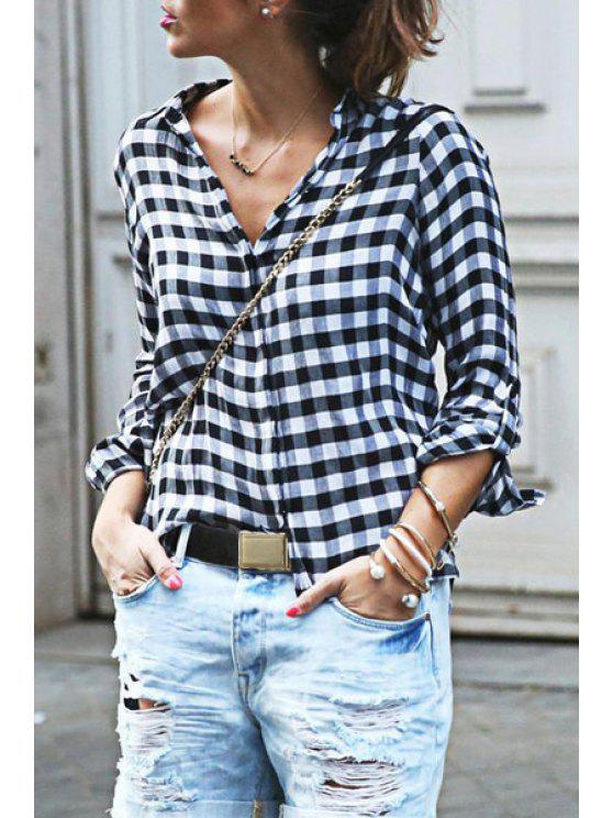 Chemise à manches longues V Neck - Blanc et Noir S