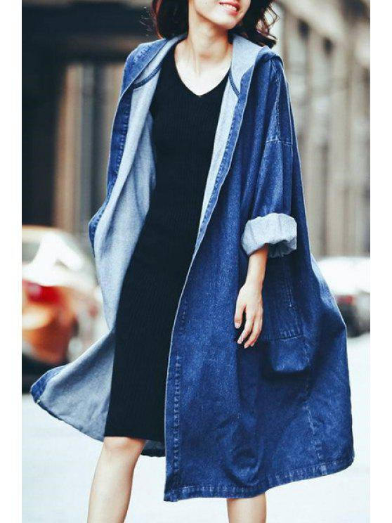women Denim Hooded Long Sleeve Loose Coat - BLUE ONE SIZE(FIT SIZE XS TO M)