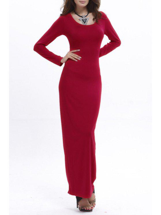 fancy Bodycon Scoop Neck Long Sleeve Maxi Dress - RED M