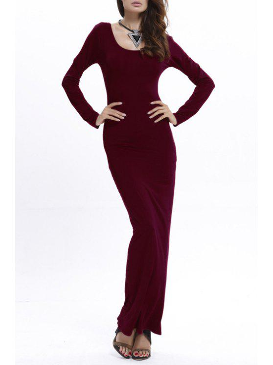 shops Bodycon Scoop Neck Long Sleeve Maxi Dress - WINE RED L