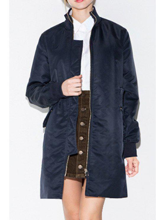 buy Solid Color Stand Collar Long Sleeve Coat - NAVY BLUE M