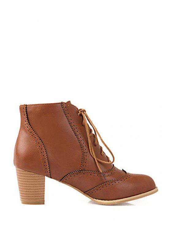 sale Carving Lace-Up Chunky Heel Ankle Boots - BROWN 37