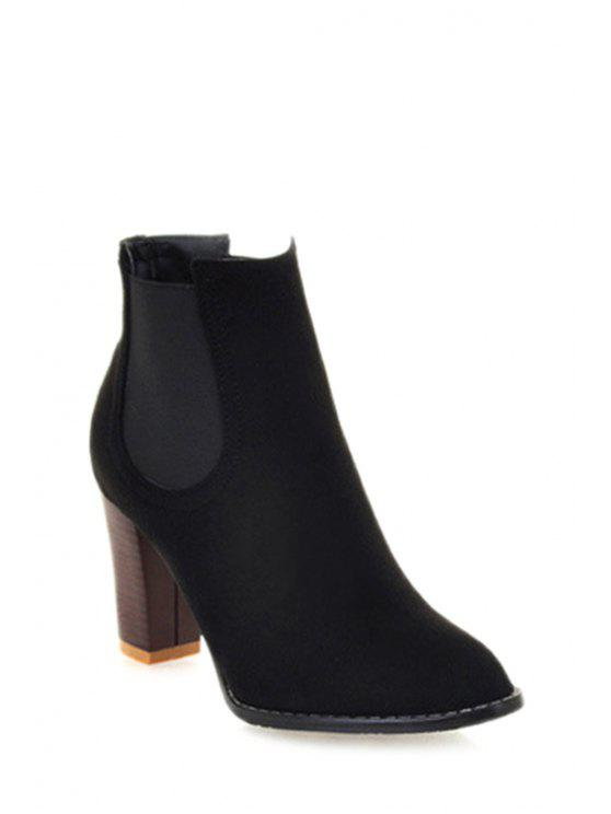 affordable Elastic Band Solid Color Suede Ankle Boots - BLACK 34