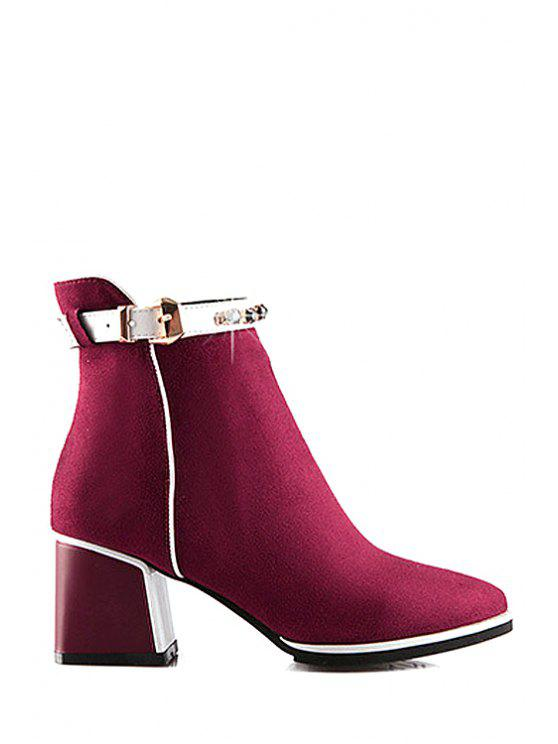 lady Rhinestone Buckle Solid Color Short Boots - RED 34