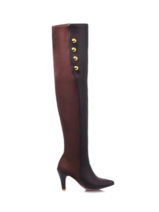 trendy Splicing Golden Button Pointed Toe Thigh Boots - COFFEE 34