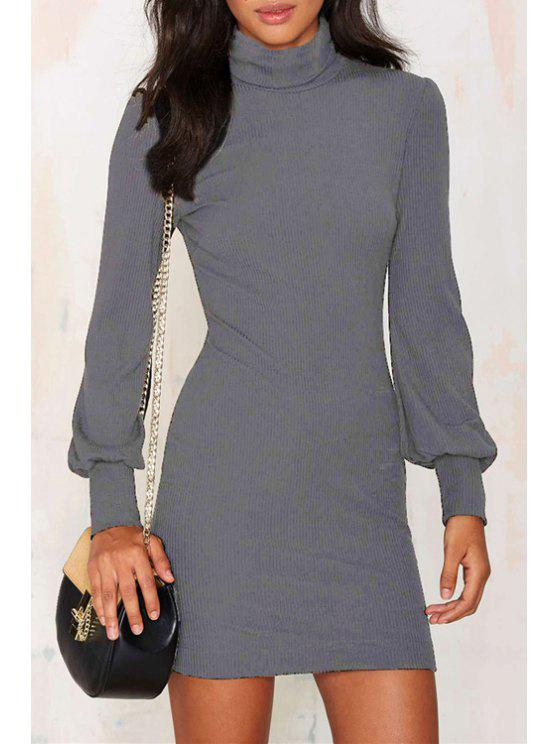 fancy Solid Color Turtle Neck Mini Sweater Dress - GRAY M
