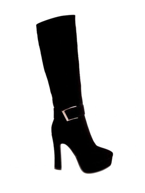 fashion Suede Buckle Chunky Heel Mid-Calf Boots - BLACK 35