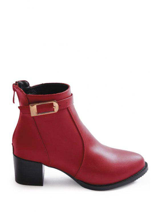 d7608bfd5750 40% OFF  2019 Buckle Strap Chunky Heel Short Boots In RED