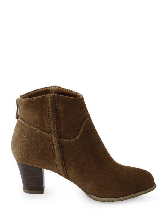 best Dark Color Chunky Heel Suede Short Boots - BROWN 37