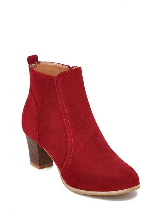 89014982ae6 Stitching Suede Chunky Heel Short Boots APRICOT BLACK BLUE BROWN RED