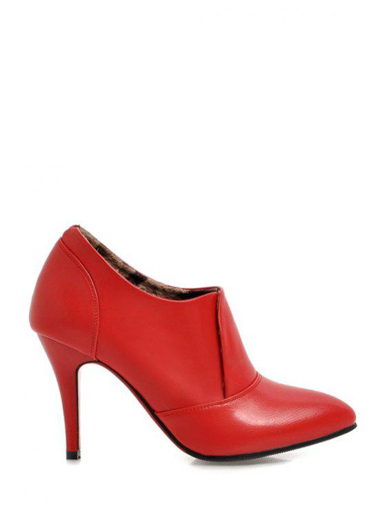 fancy Pointed Toe Solid Color Ankle Boots - RED 34