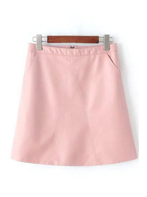 chic A Line Solid Color PU Leather Skirt - PINK M