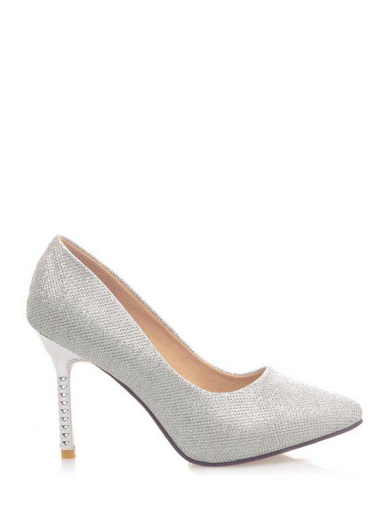 sale Solid Color Sequined Cloth Pointed Toe Pumps - SILVER 37