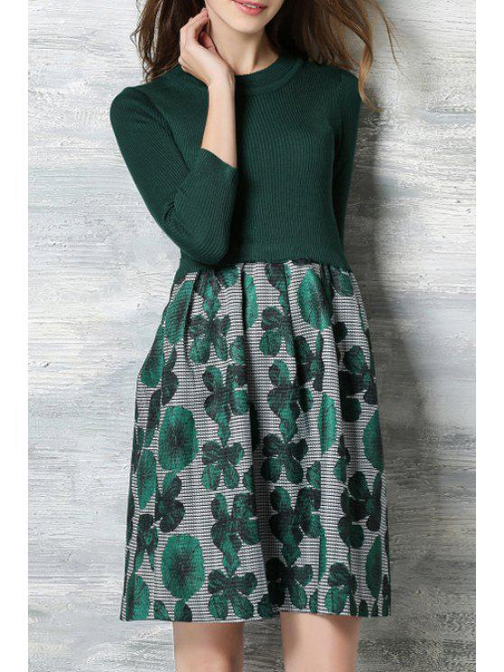 women's Green Floral Print Round Neck Dress - GREEN L