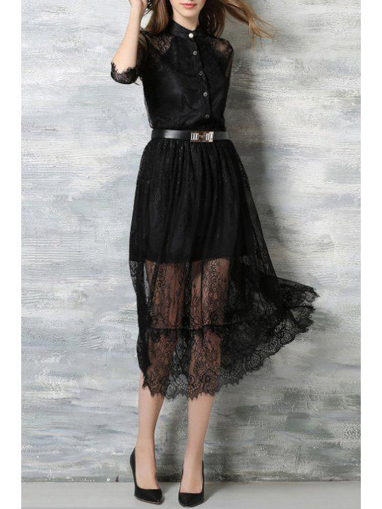 Lace Stand Neck Half Sleeve Dress - BLACK M