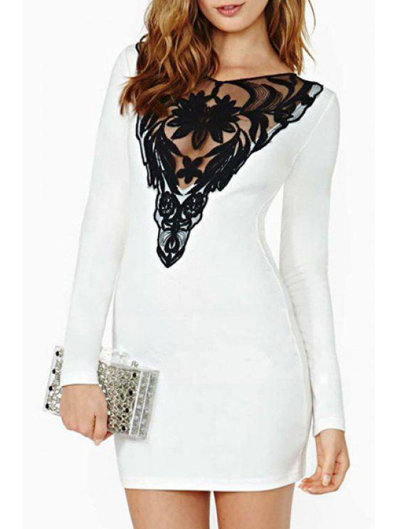 outfit Lace Hook Spliced V-Neck Long Sleeve Dress - WHITE 2XL