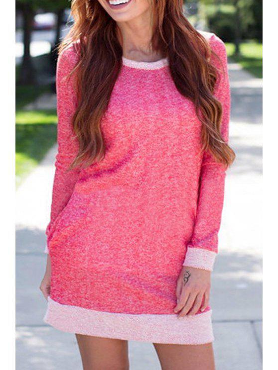 ladies Color Block Scoop Neck Long Sleeves Dress - PINK S