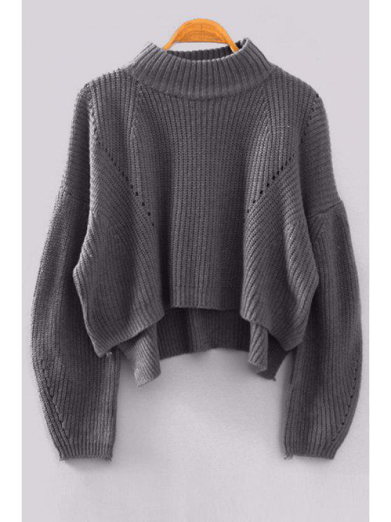 new High Low Stand Neck Long Sleeve Jumper - GRAY ONE SIZE(FIT SIZE XS TO M)