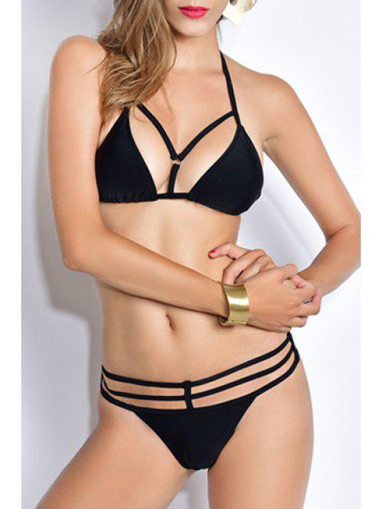 best Backless Halter Lace Up Black Bikini Set - BLACK S