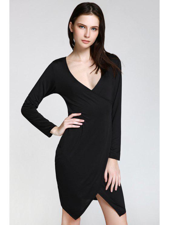 womens Long Sleeve Overlap Bodycon Dress - BLACK XL