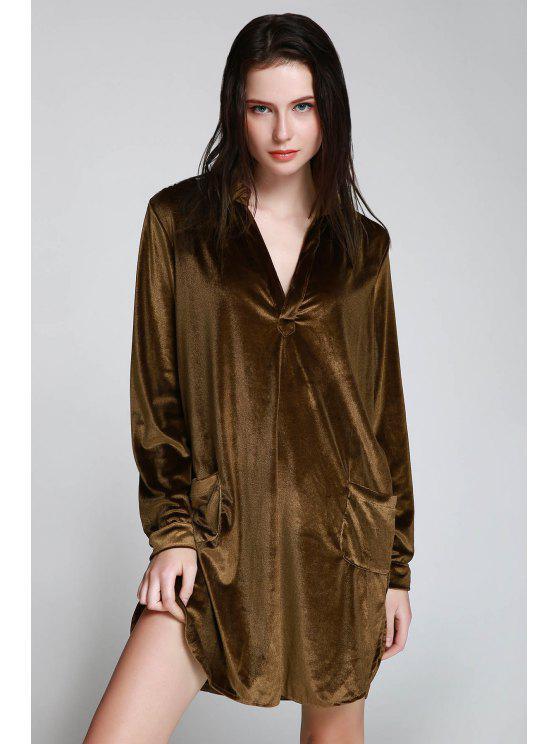 fashion Cozy Velvet Long Sleeve Shirt Dress - BROWN S