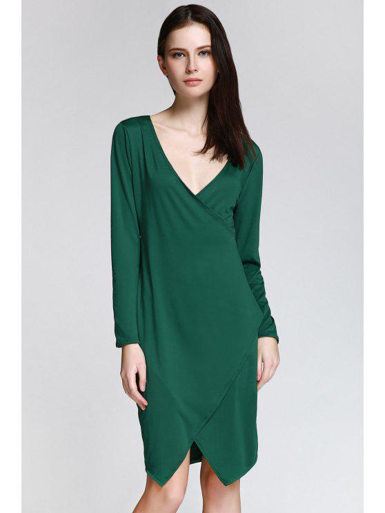 online Long Sleeve Overlap Bodycon Dress - GREEN XL