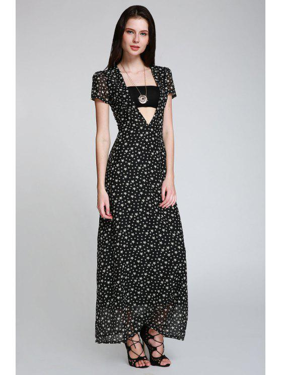 new Full Star Print Maxi Plunge Dress - BLACK S