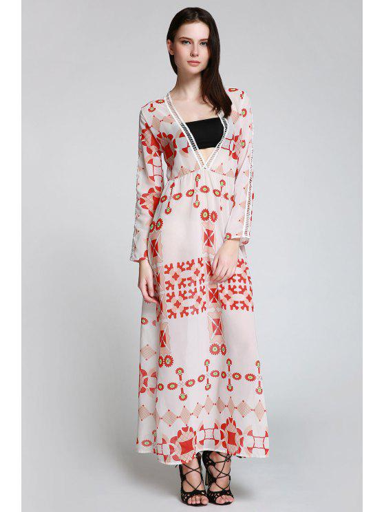 outfits Red Print Plunging Neck Long Sleeve Maxi Dress - WHITE S