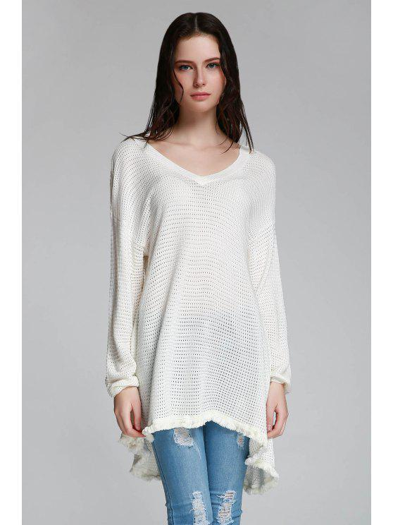 fashion Long Sleeve Cut Out Sweater - WHITE XS