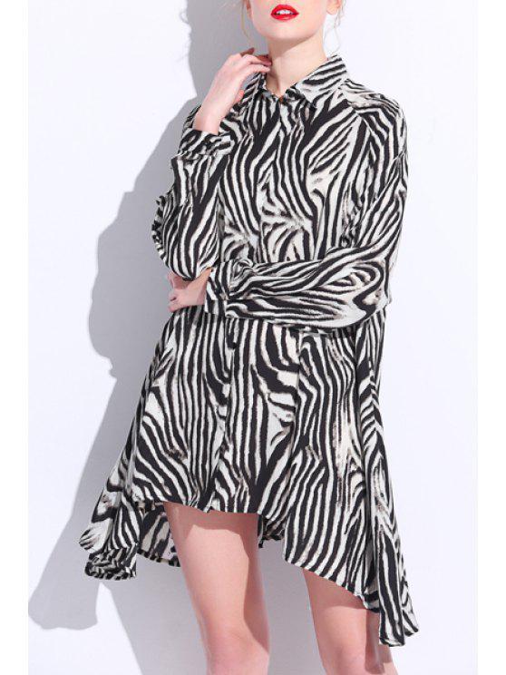 Imprimé léopard col de chemise en mousseline de soie lâche shirt Fitting - Léopard 3XL