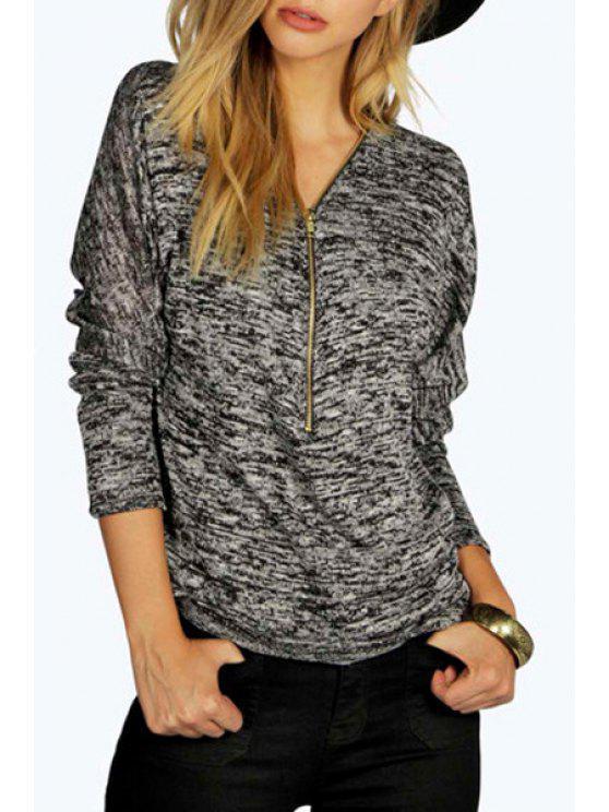 ladies Zipper V Neck Long Sleeve T-Shirt - BLACK XL