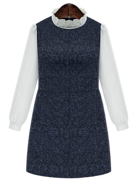 womens Chiffon Spliced Stand Collar Long Sleeve Dress - DEEP BLUE 3XL