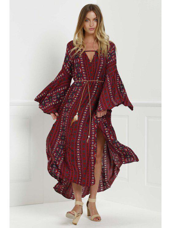 Bell Sleeve Tribal Pattern Print Dress - Red L