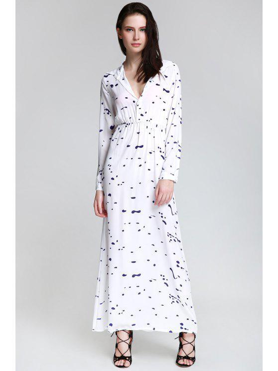 Maxi Vestido con Manga Larga con Cuello Camisero con Estampado de Tinta - Blanco S
