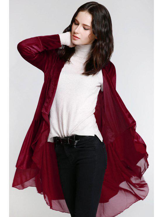 معطف نسائي أنيق طويلة الأكمام مخملي - الدم الأحمر M